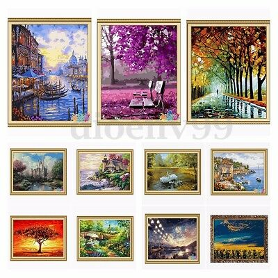 AU Acrylic Paint By Number Kit Forest Painting On Canvas Home Decor 16''*20''