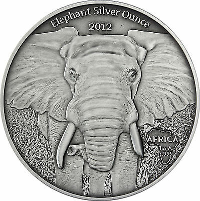 Gabun 1000 Francs 2012 Antique Finish - Elefant Elephant - Silber 1oz Silver