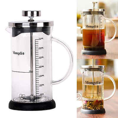 New 350ml Heat-resistant French Press Tea Coffee Maker Cafetiere Cup Frame Glass