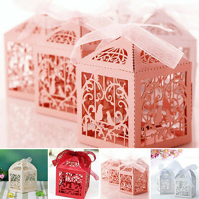 10/50/100Pcs Wedding Favour Favor Ribbon Gift Candy Party Boxes Bag Anniversary