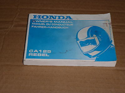 Manuel Utilisateur Du Conducteur Honda Ca 125 Rebel 1994-> Owner's Manual