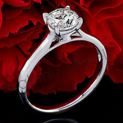 2CT Off White Moissanite Round Solitaire Engagement Ring 925 Sterling Silver