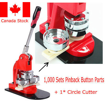 "1""(25mm) Badge Making Set Machine Button Maker+Circle Cutter+1000 Badge Canada!"