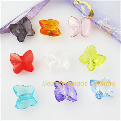 80Pcs Mixed Plastic Acrylic Tiny Animal Butterfly Charms Spacer Beads 9x10mm