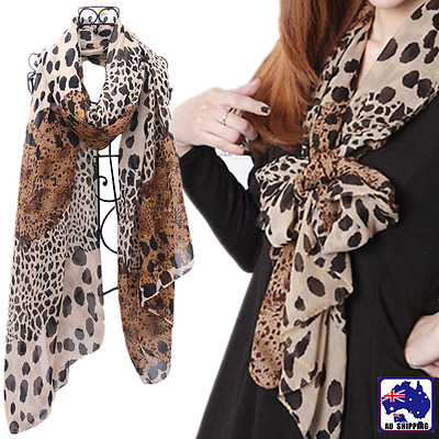 150x55cm Leopard Chiffon Scarf Shawl Stole Brown Animal Print Wraps CSCA65816
