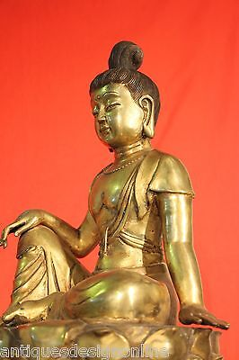 BIG antique gold gilt BRONZE BUDDHA STATUE rare GUANYIN Goddess sculpture SIGNED