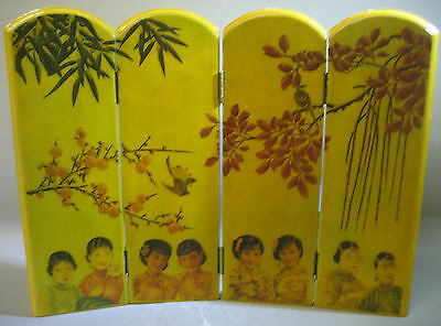 Vintage oriental handmade miniature folding screen