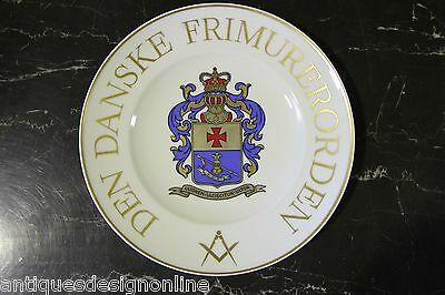 Good rare Danish MASONIC PLATE GOLD gilt Bing Grondahl ARMORIAL Freemason dish