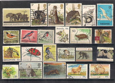 World Lot Of 22 Used Stamps With Animals Birds Etc.