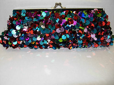 Ladies' Sequinned/Paillette Evening Bag Multi-Colored NEW!!