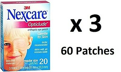 3 x NEW Nexcare Eye Patch Pack Opticlude Eye Patch Regular Size 60 Patches