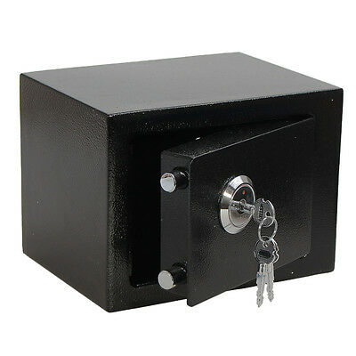 Iron Steel Black Key Safe Box Money Cash Steel For Home Office Strong SECURITY