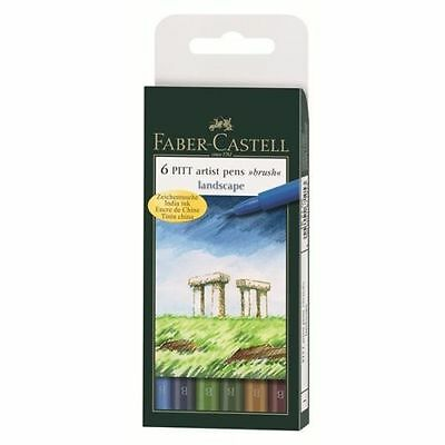 Faber Castell (6 PITT Landscape)  Artist Pens Brush B Box (NEW) SALE