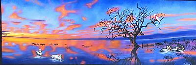 Art Landscape Pelican Sunset Sunrise  Oil Painting Abstract canvas