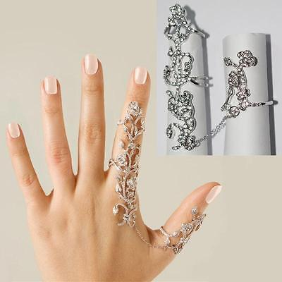 RHINESTONE STUDDED FASHION FULL FINGER LONG OVAL CRYSTAL STRETCH RING Jewelry#
