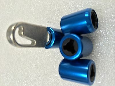 Security Locking Dust Caps & key packed in 4 - blue