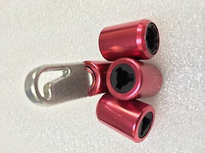 Security Locking Dust Caps & key packed in 4 - Red