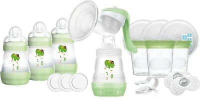 Mam Breast Feeding Starter Set With Anti-Colic Bottles & Breastpump- Green - New