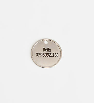 Dog-Cat Tags, 28mm Stainless Steel Round Pet Tag - Free Engraving