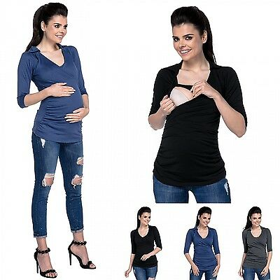Zeta Ville - Women's maternity layers wrap top collar V-neck ruched sides - 439c