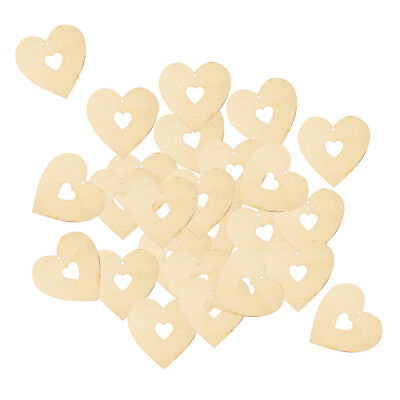 25pcs Unfinished Heart Wooden Pieces Tags Craft Scrapbooking Embellishment