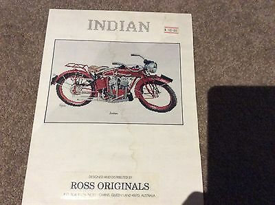 CROSS STITCH CHART INDIAN VINTAGE MOTOR BIKE motorcycle ROSS ORIGINALS CRAFT