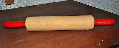 Vintage Traditional Wooden Rolling Pin – Red Painted Handles – Kitchenalia! –