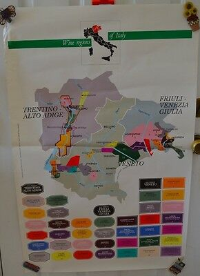 Vintage Wine Regions Italy Map Poster Trentino-Alto-Adige #34 Advertising
