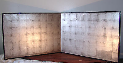 RARE 6ft Antique Japanese PLAIN SILVER Tea Ceremony BYOBU Folding Screen 2 panel