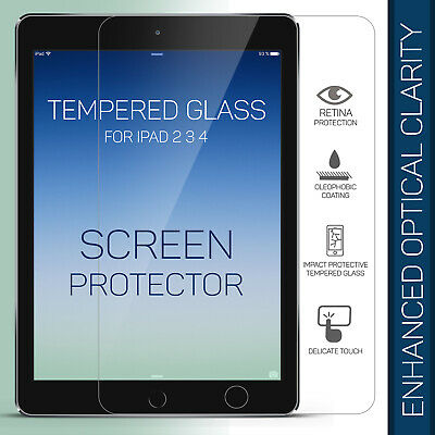 Genuine Premium Tempered Glass Film Screen Protector For Apple iPad 2 3 4 UK