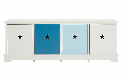 Josh Boys Room 4 Chest Of Drawer Bench White Wood Frame Blue Star Shaped Handles