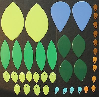 ELLO LEAF SHAPES x 39. MIXED COLOURS.  UK DISPATCH