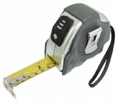 Sourcingmap Gray Silver Tone Case Button Lock 5 Meters Steel Measuring Tape