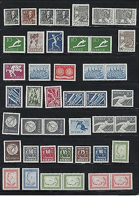 Sweden Years 1951-1954 MNH With Pairs  Scott $57.50