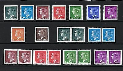 Sweden Scott 1068-1082 MNH With Pairs  Facit SEK 157 ( $ 18)