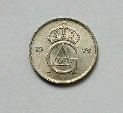 1972 SWEDEN Gustav VI Monogram Coin - 10 Ore - AU+ toned lustre - tiny 15mm size