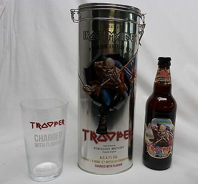 IRON MAIDEN TROOPER BEER Collectors Gift Set METAL TIN with Pint Glass & Bottle