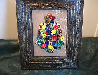 "Framed  Jewelry Christmas Tree "" Spring Modern  Multi-Colored ""-Flower Arrangemt"