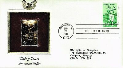 1981 US #1933 Bobby Jones FDC - 22 kt Gold Plated stamp