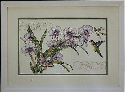 """Dimensions Orchids & Hummingbird Donna Race Counted Cross Stitch Kit 14"""" x 9"""""""