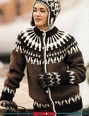 Adult Reynolds Icelandic LOPI Cardigan Pullover Beret Helmet Mitts Knit Patterns