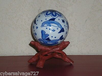 "Porcelain Glazed 4"" Ball With Stand Decorated with Dolphins Fish and Stars"