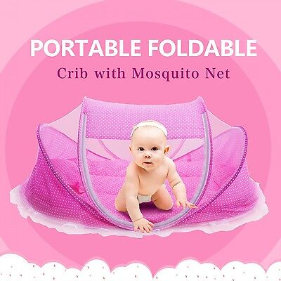 !Baby Travel Bed Mosquito Net Bedding Dome Portable Tent Canopy Crib Kids Cotton