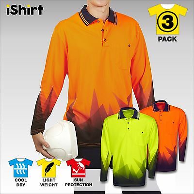 3 X New Hi Vis Polo Shirt Sublimation Cooldry Breathable Tradies Safety Workwear