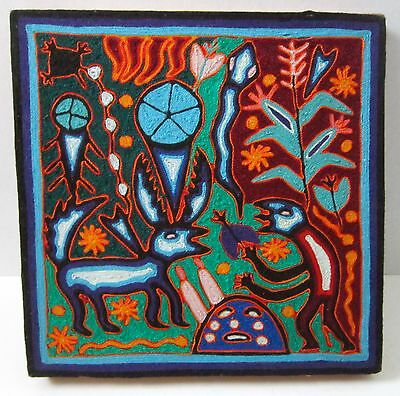 Beeswax YARN Painting SIGNED By Huichol Artist JOSE BENITEZ SANCHEZ-Deer-Animals