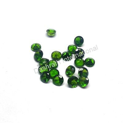 1mm to 6mm Natural Chrome Diopside Faceted Round Calibrated Size Loose Gemstone