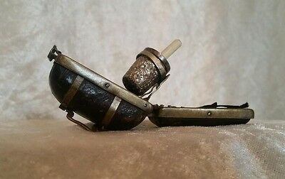 Antique German Travel Silver Thimble In Leather & Brass Case BEAUTIFUL ITEM