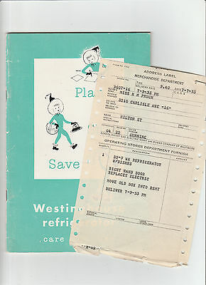 1951 Westinghouse Refrigerator Care and Use Book With Original Receipt