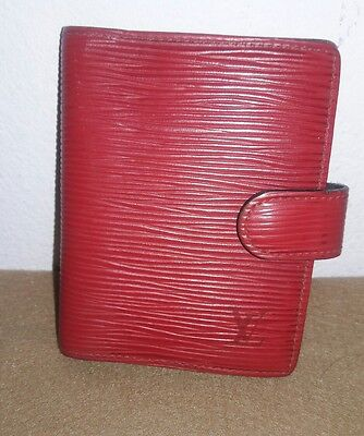 Auth Louis Vuitton Monogram Red Mini Agenda Notebook Cover, Cardholder