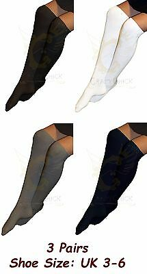 Adult's Women's Girl's 3 Pairs Knee High Plain Cotton Rich Socks- UK Size 3-6
